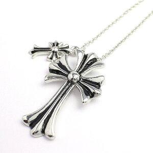 Rakuten Fashion THE SALE 10%OFF ダブルチャームがアクセント 十字架モチーフのメンズシルバーネックレス いぶし加工風 SPST017 メンズネックレス necklace 送料無料