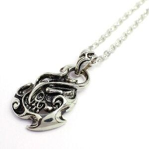 いぶし加工風 炎モチーフにスカルデザインのメンズシルバーネックレス 鬼火 髑髏 SPST020 メンズネックレス necklace 送料無料