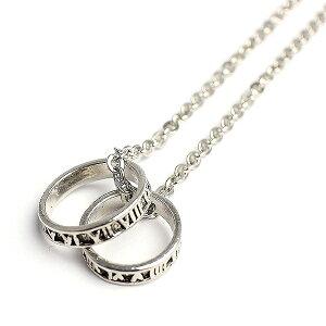 ローマ数字のシルバー風ダブルリングネックレス いぶし加工風ローマリング ローマンリング SPST029 メンズネックレス necklace 送料無料
