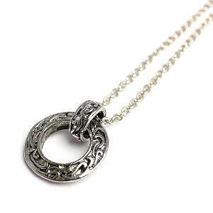 いぶし加工風アラベスクリングネックレス シルバー風サークルネックレス SPST031 メンズネックレス necklace 送料無料
