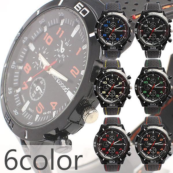 アクセントカラーが目を引く ラバーベルトのミリタリーメンズウォッチ フェイクダイアル AV028 メンズ腕時計 auktn