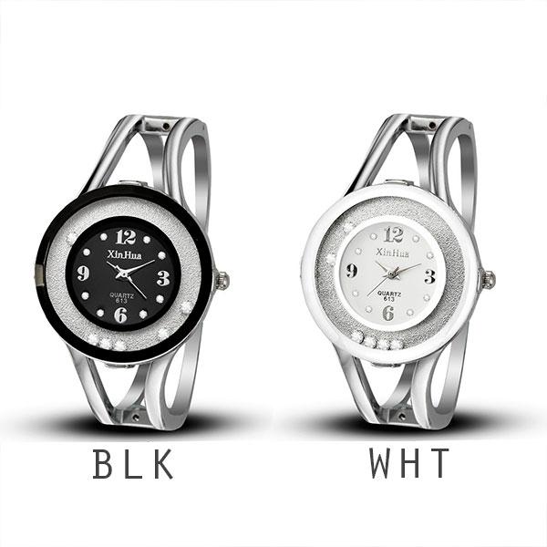ラウンドストーンが揺れ動くシルバーバングルウォッチ カラフル丸形フェイス AV035 レディース腕時計 auktn
