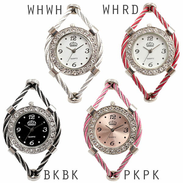 シルバー基調のワイヤーバングルウォッチ ミッドサイズケース AV036 レディース腕時計 auktn