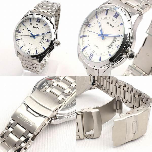 【BIDEN バイデン】日常生活防水 文字盤が美しい メタルベルトのデザインウォッチ カレンダー 日付表示 BD005 メンズ腕時計 auktn