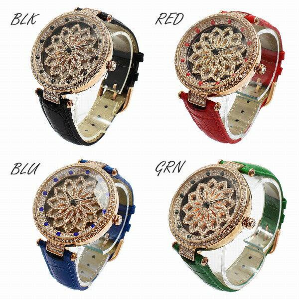 文字盤が回る ぐるぐる時計 スピナー SEIKOムーブメント EPSON 革ベルト くるくる時計 ぐるぐる くるくる腕時計 RT005 レディース腕時計 auktn