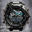 デュアルタイム アナデジ腕時計 デジアナ HPFS618A-BKBK アナログ&デジタル ダイバーズウォッチ風 3気圧防水 ラバーベルト クロノグラフ トリプルカレンダー バックライト アラーム 時報 メンズ腕時計 auktn 送料無料