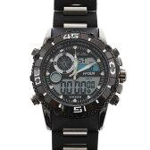 デュアルタイム アナデジ腕時計 デジアナ HPFS622-BKBK アナログ&デジタル ダイバーズウォッチ風 3気圧防水 ラバーベルト クロノグラフ トリプルカレンダー バックライト アラーム 時報 メンズ腕時計 auktn 送料無料