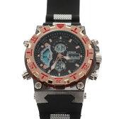10%OFF アフターSALE対象 デュアルタイム アナデジ腕時計 デジアナ HPFS628-BKPG アナログ&デジタル ダイバーズウォッチ風 3気圧防水 ラバーベルト クロノグラフ トリプルカレンダー バックライト アラーム 時報 メンズ腕時計 auktn 送料無料 ポイント5倍