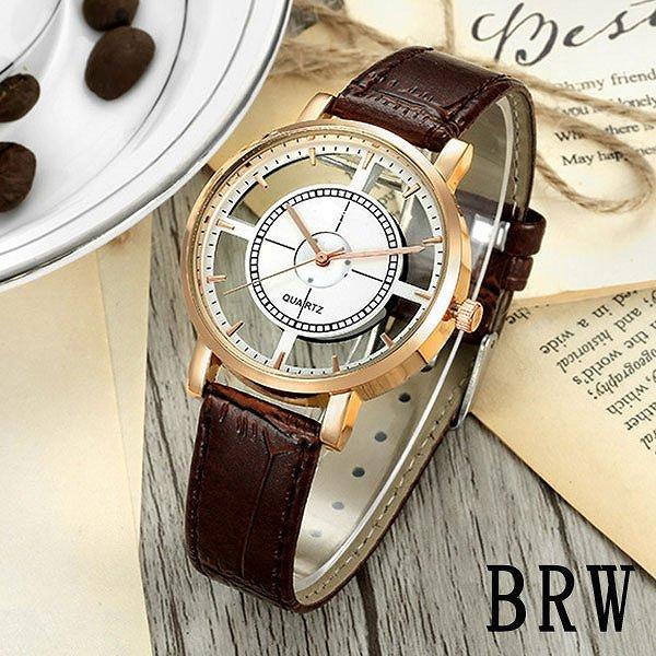 レザーベルトのシンプルシースルーウォッチ フルスケルトンゴールドケース レディース SPST013 ユニセックス腕時計 auktn