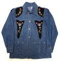 【送料無料】【あす楽】【中古】1970'sLila.s.a.花柄刺繍デニムシャツジャケットブルーM/レディースンテージ