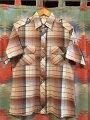 【送料無料】【あす楽】【中古】70sKENNINGTONケニントンエポレットシャツ半袖ブラウン系/チェック柄メンズM70年代製