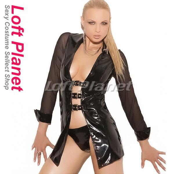 da98335bfe7f3 ボンテージのコート PVCエナメルとメッシュのドレス セクシーコスチューム2点セット WB-
