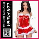 サンタのセクシークリスマス衣装 ファーの縁取り編み上げビスチェ&スカー...