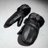 【SelectShop】【羊皮ミトン】メンズ手袋本革リアルレザー手袋メンズミトンプレゼントミトン羊皮羊革ブラックファーファー手袋裏生地ファーおしゃれきれい目レアアイテム黒