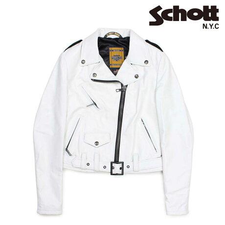 ショット Schott ダブルライダースジャケット ジャケット レザージャケット レディース LAMBSKIN PERFECTO LEATHER JACKET ホワイト SPERW