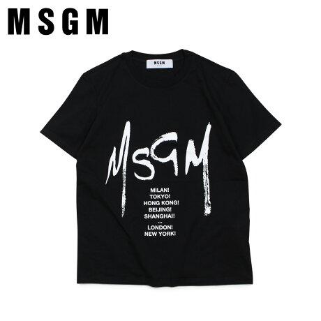 MSGM エムエスジーエム Tシャツ 半袖 レディース GRAPHIC LOGO T-SHIRT ブラック MDM174 99