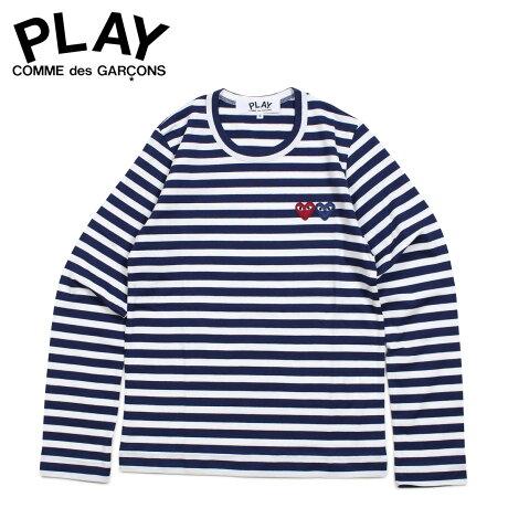 コムデギャルソン PLAY COMME des GARCONS Tシャツ レディース 長袖 ボーダー ロンT STRIPE DOUBLE HEART LOGO T-SHIRT ネイビー AZ-T227 [3/29 新入荷]
