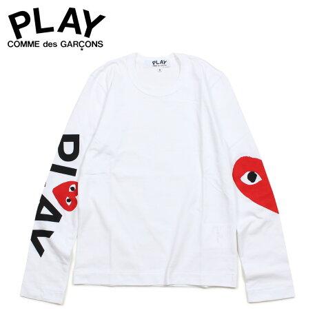 コムデギャルソン PLAY COMME des GARCONS Tシャツ レディース 長袖 ロンT RED HEART LONG SLEEVE ホワイト 白 AZ-T257 [3/29 新入荷]