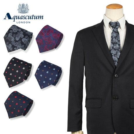 アクアスキュータム AQUASCUTUM ネクタイ メンズ イタリア製 シルク ビジネス 結婚式 ブラック ネイビー ブルー 黒 [10/11 新入荷]