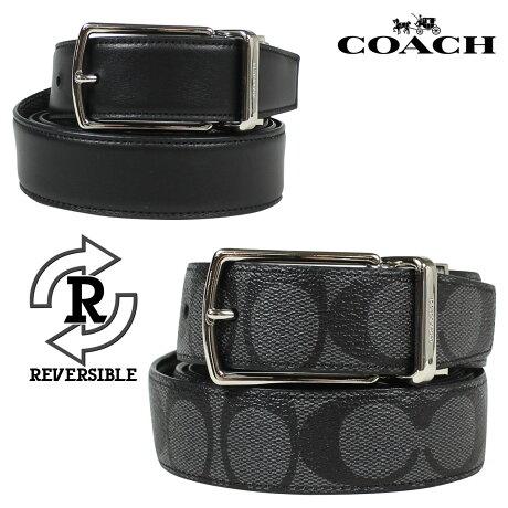 コーチ COACH ベルト メンズ 本革 レザー リバーシブル ビジネス F64825 チャコール ブラック [予約 1月下旬 再入荷予定]