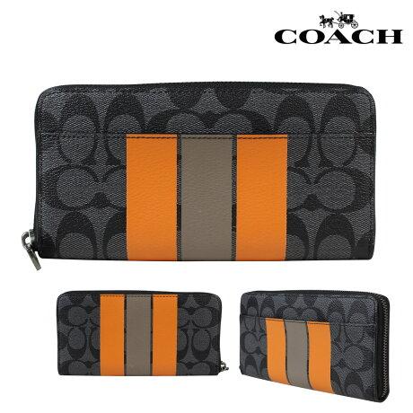 コーチ COACH 財布 長財布 メンズ レディース F75381 チャコール オレンジ