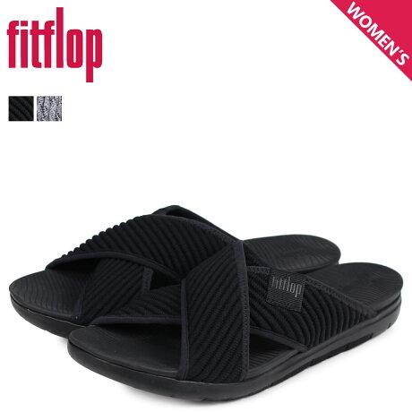 FitFlop フィットフロップ サンダル コンフォートサンダル アートニット レディース ARTKNIT CROSS SLIDE ブラック 黒 Q85 [予約商品 3/20頃入荷予定 新入荷]