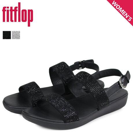 FitFlop フィットフロップ サンダル ストラップサンダル バーラ レディース BARRA CRYSTALLED ブラック シルバー 黒 Q94 [3/20 新入荷]