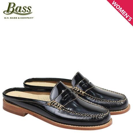 G.H. BASS ローファー ジーエイチバス レディース サンダル スリッパ バブーシュ WYNN PATENT LEATHER MULE WEEJUNS 71-22854 靴 ブラック
