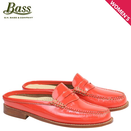 G.H. BASS ローファー ジーエイチバス レディース サンダル スリッパ バブーシュ WYNN PATENT LEATHER MULE WEEJUNS 71-22859 靴 オレンジ
