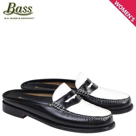 G.H. BASS ローファー ジーエイチバス レディース サンダル スリッパ バブーシュ WYNN PATENT LEATHER MULE WEEJUNS 71-22864 靴 ブラック ホワイト