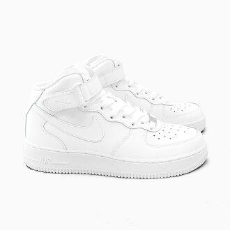 NIKE AIR FORCE 1 MID GS 314195-113 WHITE耐吉空軍1中間女士小孩尺寸空軍1空軍空軍1空氣白全部白白運動鞋