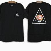 HUFハフTシャツMEMORIALTRIANGLES/STEEBLACKハフ花柄トライアングルロゴグラフィックメンズレディース半袖Tシャツ黒ブラック