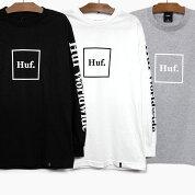HUFハフ長袖TシャツDOMESTICL/STEEBLACKWHITEハフ長袖TシャツロンTブラック黒ホワイト白白ティートリプルトライアングルロゴ