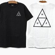 【並行輸入品】HUFハフTシャツESSENTIALSTTS/STEEハフ半袖Tシャツ黒/白ロゴプリント