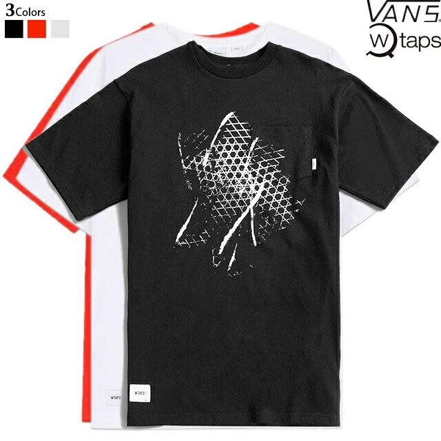 トップス, Tシャツ・カットソー WTAPS x VANS VAULT SS SHORT SLEEVE TEE SHIRT VN0A4TRD BLACK WHITE MANDARINE RED T-SHIRT