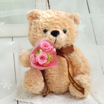 かわいいテディが花束をもってお届け♪花束は5色から選べます誕生日,結婚祝い,新築祝,ギフト,バ...