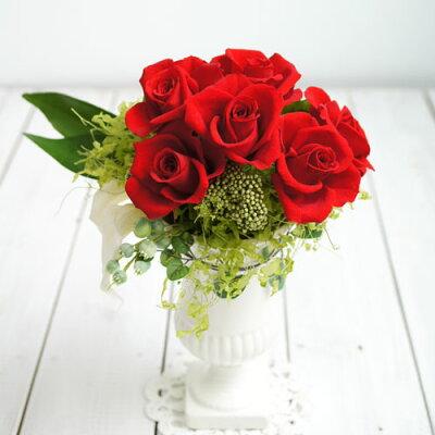 美しい品のある薔薇のプリザーブドフラワーアレンジ出産祝い/フラワー電報/結婚記念日/新築祝い...