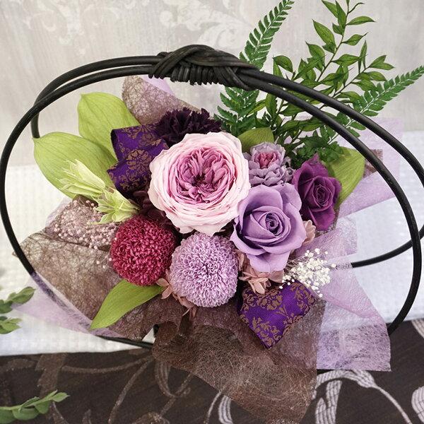 誕生日古希お祝いプレゼント喜寿祝い和風プリザーブドフラワーモダンアレンジメント「舞華紫」喜寿祝い喜寿祝い77歳贈り物プレゼント祖