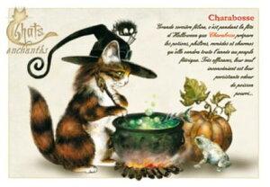 仏蘭西猫のグリーティングカード♪独特の色合いと図案ユニークネコのポストカードをフランスのセンスで楽しむ【魔法ネコ】