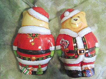 オーナメントになるクマのサンタのティン缶ギフトボックスに使える3D立体発色がきれいエナメルペイントクリスマスspecial【くまちゃんサンタクロース】
