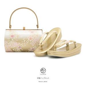 [免费送货]凉鞋袋套装成人礼供樱桃和服樱花樱花me子双芯凉鞋安排凉鞋背安排[自由尺寸] [明天的音乐]金基金白粉红色渐变