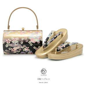 [livraison gratuite] ensemble de sacs de sandales pour furisode adulte Noir Noir Or Or Gradation Cherry Blossom Sakura Lame Deux-core Zori Set Zori Back Set [Taille libre] [Musique pour demain]