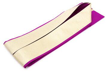 重ね衿 赤紫色 パープル 金色 ゴールド シンプル リバーシブル 両面 2way 正絹 重ね襟 伊達襟 伊達衿 着物 振袖向け 成人式向け 和装小物 日本製 【あす楽対応】【メール便対応】
