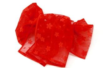 Heko kids red yukata belt to this band girl child cherry