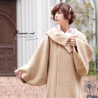外套茶米色安哥拉頭髮卷的保暖外套為前往婦女女士日本作出的秋冬