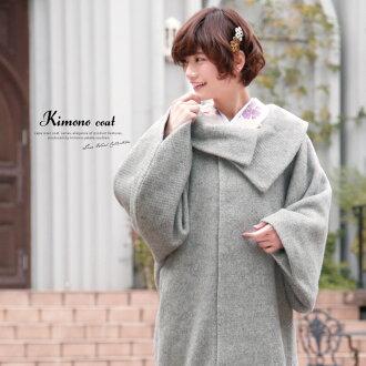 外套灰淺灰色安哥拉頭髮卷秋冬季保暖外套為前往婦女女士日本