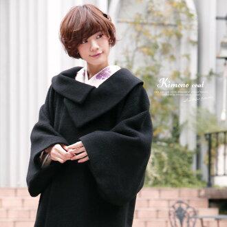 外套黑色黑安哥拉頭髮卷的保暖外套為前往婦女女士日本作出的秋冬
