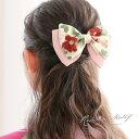 髪飾り ピンク 白 アイボリー リボン 椿柄 花柄 縮緬 ち...