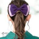 髪飾り 紫色 パープル リボン 縮緬 ちりめん シンプル コーム 髪留...