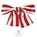 髪飾り 赤 レッド 白 オフホワイト 縞 ストライプ リボン 和洋兼用...